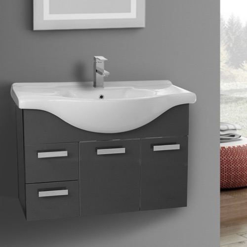 32 Inch Bathroom Vanities Thebathoutlet Wall Mount Glossy Anthracite Vanity Set Dopayfo