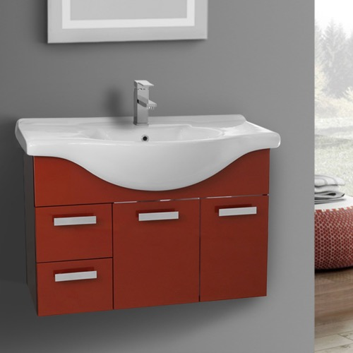 32 Inch Wall Mount Glossy Red Bathroom Vanity Set