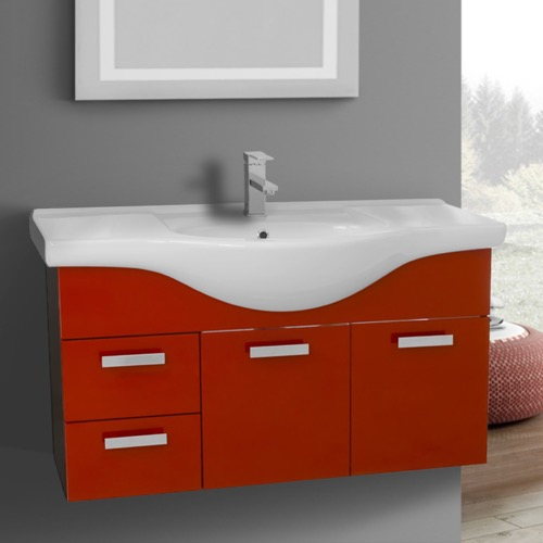 39 Inch Wall Mount Glossy Red Bathroom Vanity Set