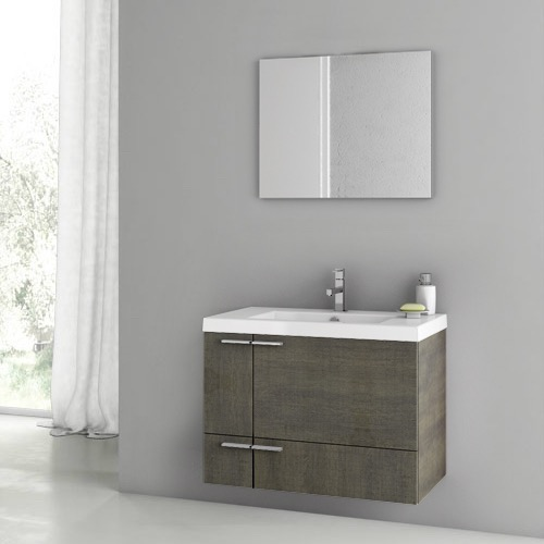 31 Inch Grey Oak Bathroom Vanity Set