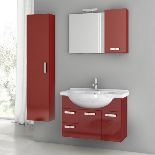 32 Inch Glossy Red Bathroom Vanity Set