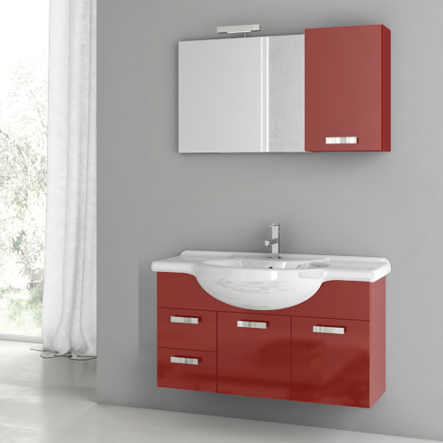 39 Inch Glossy Red Bathroom Vanity Set