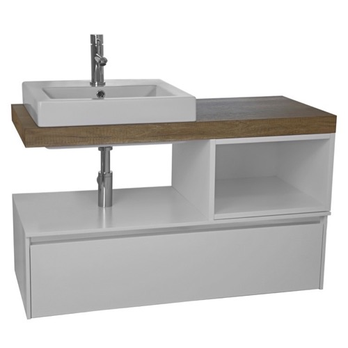 41 Inch Wall Mount White/Aged Brown Top Vanity Cabinet With Square Vessel Sink