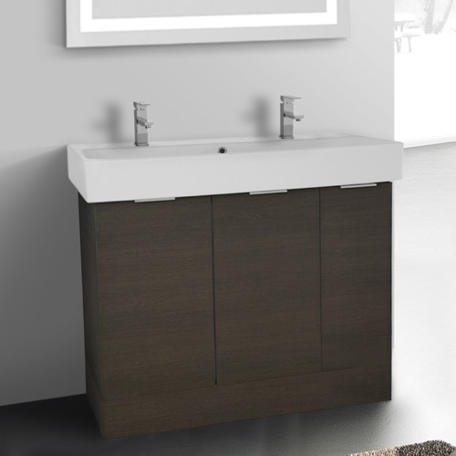 40 Inch Floor Standing Grey Oak Double Vanity Cabinet With Fitted Sink
