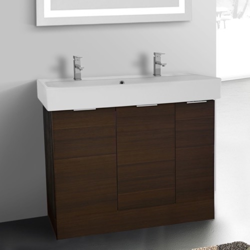 40 Inch Floor Standing Larch Brown Double Vanity Cabinet With Fitted Sink