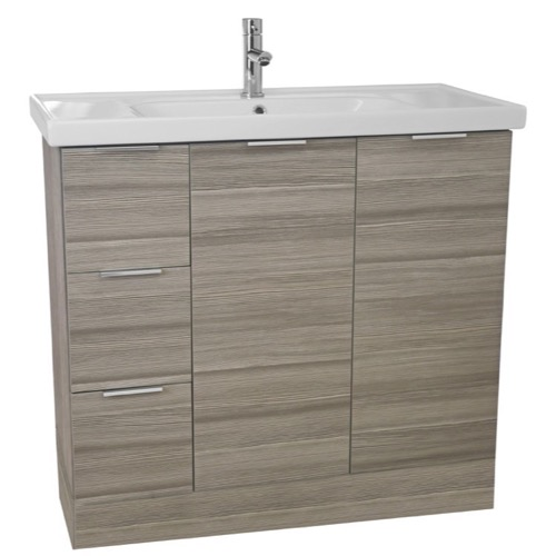 39 Inch Floor Standing Larch Canapa Vanity Cabinet With Fitted Sink
