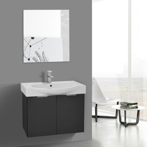 28 Inch Glossy Anthracite Wall Mounted Bathroom Vanity Set, Vanity Mirror Included