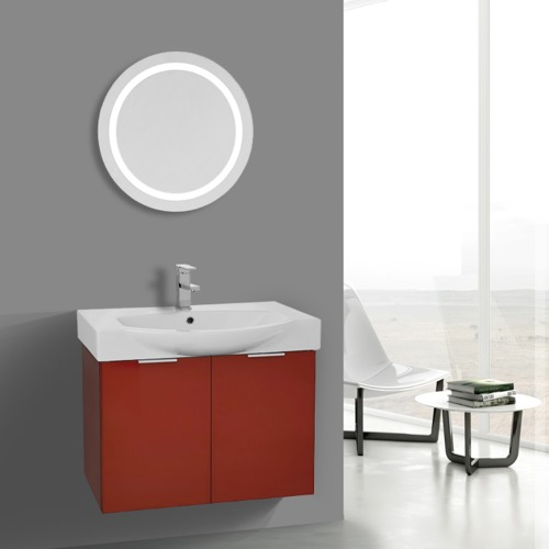 28 Inch Glossy Red Wall Mounted Bathroom Vanity Set, Lighted Vanity Mirror Included