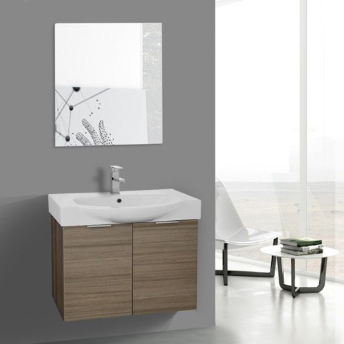 28 Inch Larch Canapa Wall Mounted Bathroom Vanity Set, Vanity Mirror Included