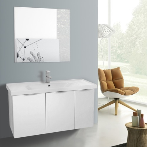 39 Inch Larch White Wall Mounted Bathroom Vanity Set, Vanity Mirror Included