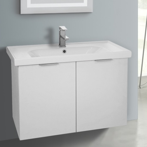 31 Inch Wall Mount Larch White Vanity Cabinet With Fitted Sink