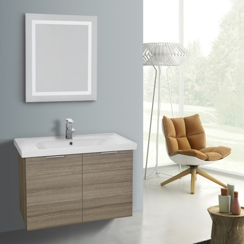 32 Inch Larch Canapa Wall Mounted Bathroom Vanity Set, Lighted Vanity Mirror Included