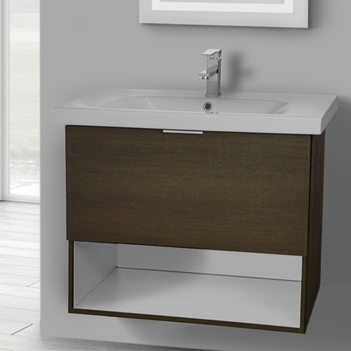 32 Inch Wall Mount Grey Oak Vanity Set, 1 Drawer and Open Space