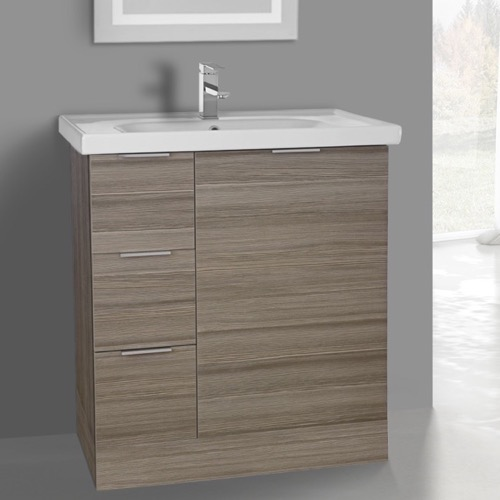 31 Inch Floor Standing Larch Canapa Vanity Cabinet With Fitted Sink
