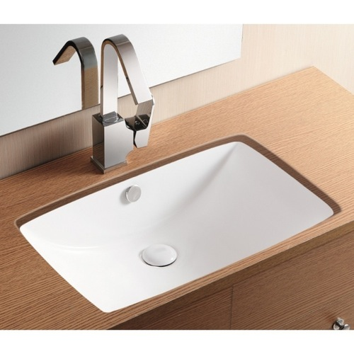 Rectangular White Ceramic Undermount Bathroom Sink