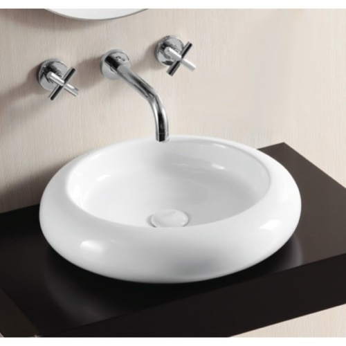 Round White Ceramic Vessel Bathroom Sink