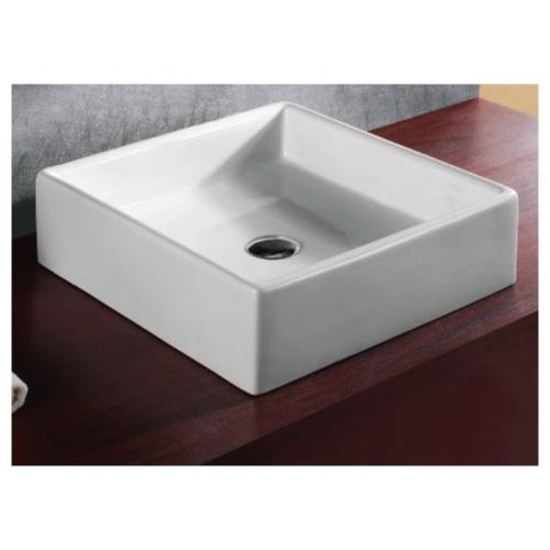 Square Vessel Sink White : ... Sink, Caracalla CA4040, Square White Ceramic Vessel Bathroom Sink
