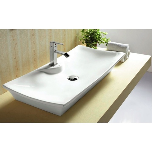 Bathroom Sink, Caracalla CA4277A, Rectangular White Ceramic Vessel Bathroom Sink CA4277A