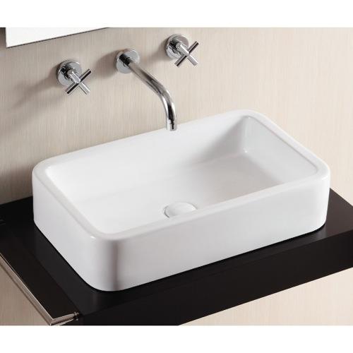 ... Sink, Caracalla CA4962, Rectangular White Ceramic Vessel Bathroom Sink
