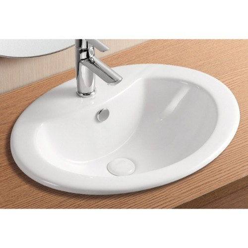 Oval White Ceramic Drop In Bathroom Sink