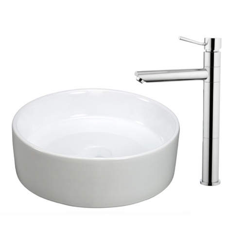 White Ceramic Bathroom Sink and Faucet Combo