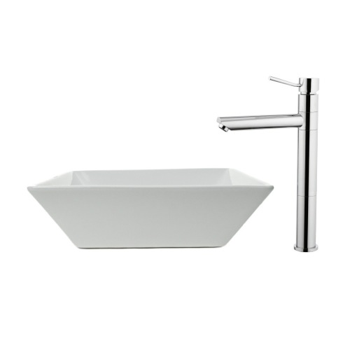 Vessel Ceramic Bathroom Sink and Faucet Combo