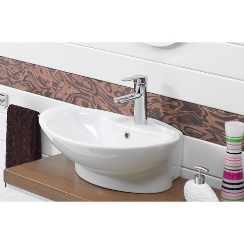 Oval White Ceramic Wall Mounted or Vessel Bathroom Sink