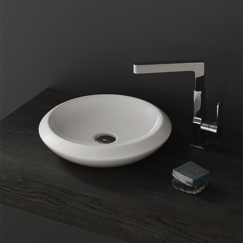 Round White Ceramic Vessel Sink