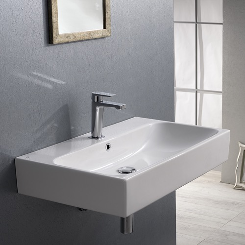 Rectangular White Ceramic Wall Mounted or Vessel Bathroom Sink