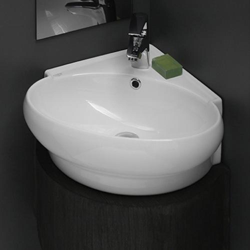 Ada Corner Sink : ADA Compliant Corner bathroom sink Made of white ceramic Wall mounted ...