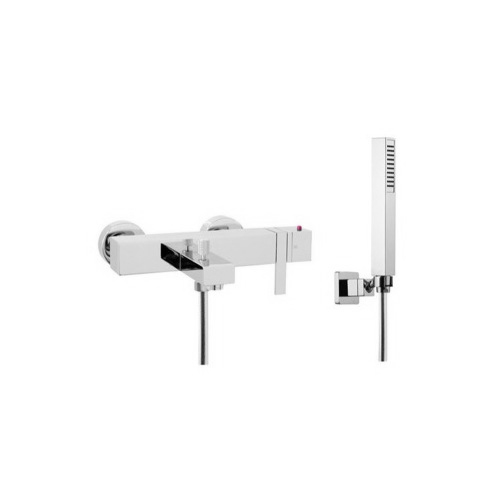 Tub Filler, Fima S4044, Wall Mounted Thermostatic Bath Mixer With Hand Shower Set S4044