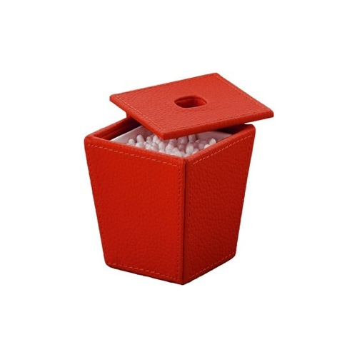 Square Red Faux Leather Cotton Swab Jar