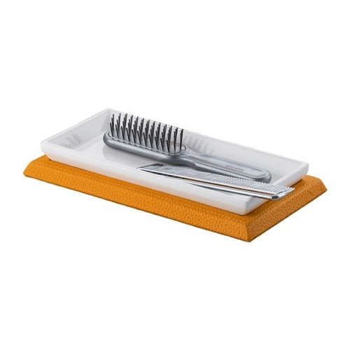 Rectangle Orange Faux Leather Comb Tray