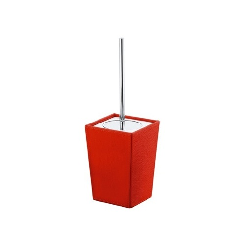 Square Red Faux Leather and Ceramic Toilet Brush Holder