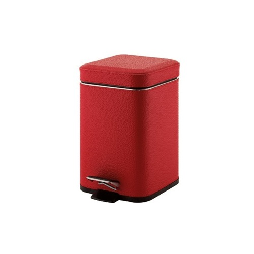 Square Red Waste Bin With Pedal