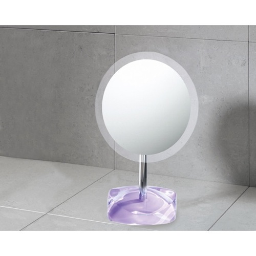 Magnifying Mirror with Round Lilac Colored Base