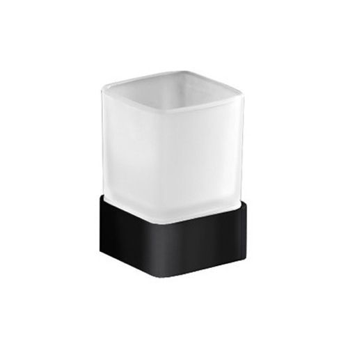 Square Frosted Glass Toothbrush Holder With Matte Black Base