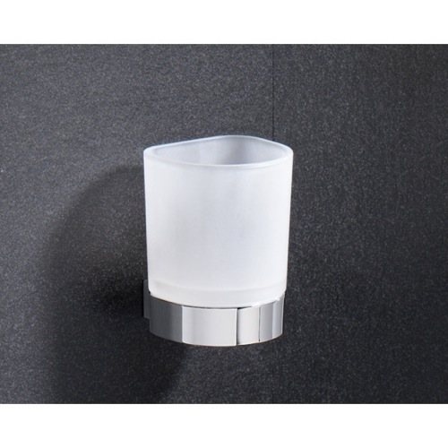 Wall Mounted Frosted Glass Toothbrush Holder With Chrome Base