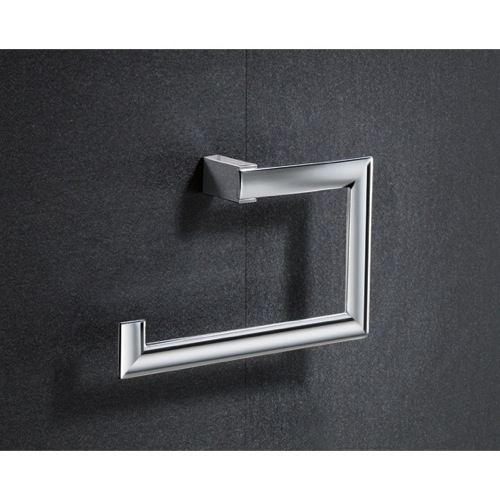 Square Chromed Brass Towel Ring
