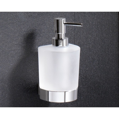 Wall Mounted Rounded Frosted Glass Soap Dispenser With Chrome Mounting