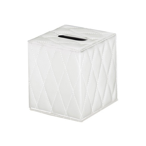 White Square Faux Leather Tissue Box Cover