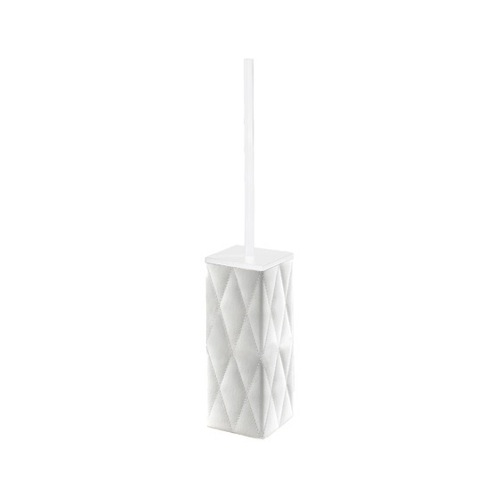White Square Faux Leather Toilet Brush Holder