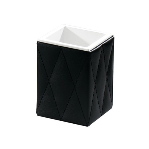 Black Faux Leather Toothbrush Holder