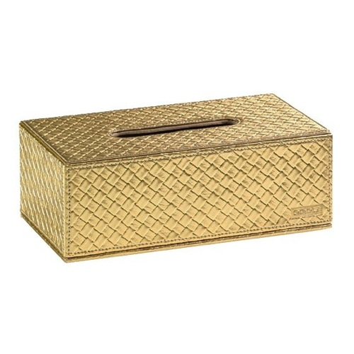 Gold Faux Leather Tissue Box Cover