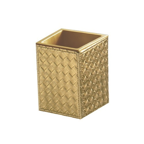 Gold Faux Leather Toothbrush Holder