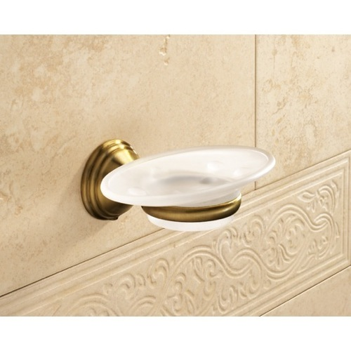 Wall Mounted Frosted Glass Soap Dish With Bronze Mounting