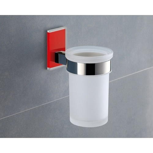 Wall Mounted Frosted Glass Toothbrush Holder With Red Mounting