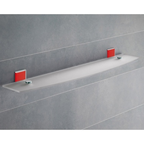 Red Mounting Frosted Glass Bathroom Shelf