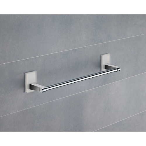 14 Inch White Mounting Polished Chrome Towel Bar