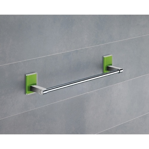 Towel Bar, Gedy 7821-35-04, 14 Inch Green Mounting Polished Chrome Towel Bar 7821-35-04